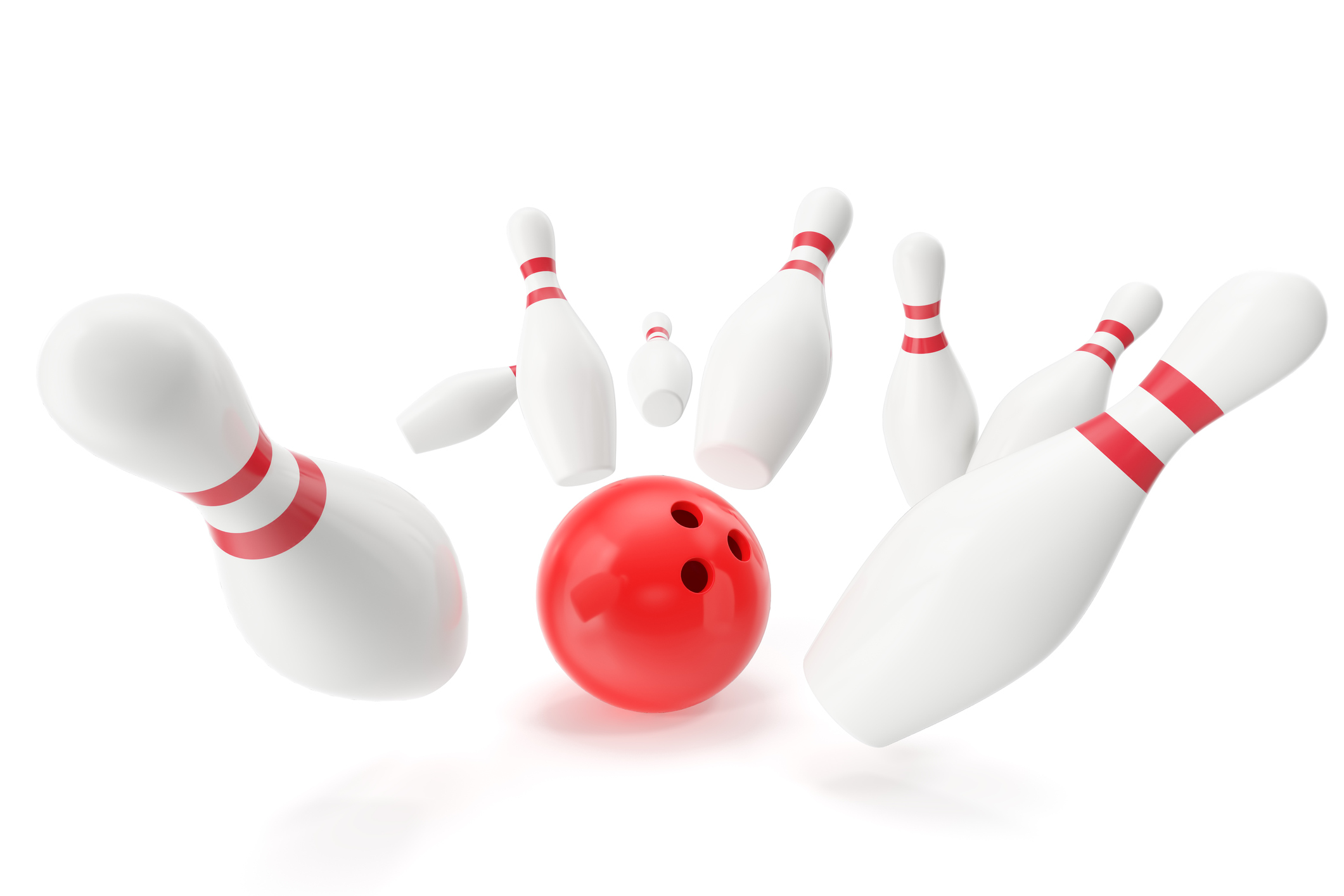 Bowling game, red ball crashing into the skittles. 3d illustration